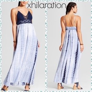Xhiliration Tie Dye Crochet Maxi Dress